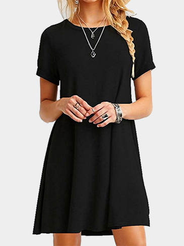 Black Round neck Mini Dress