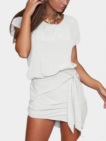 White Round Neck Self-tie Design Mini Dress