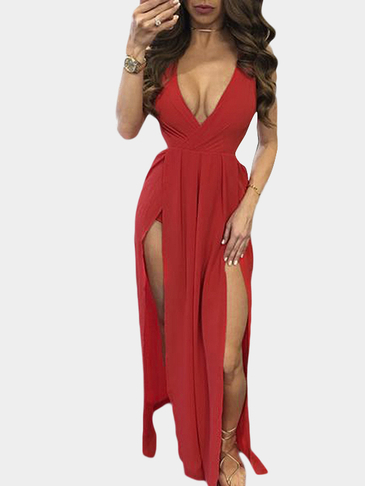 Red V Neck Backless Maxi Dress With Splited Hem