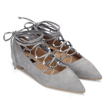 Grey Rivet Embellished Lace-up Pointed Toe Flats
