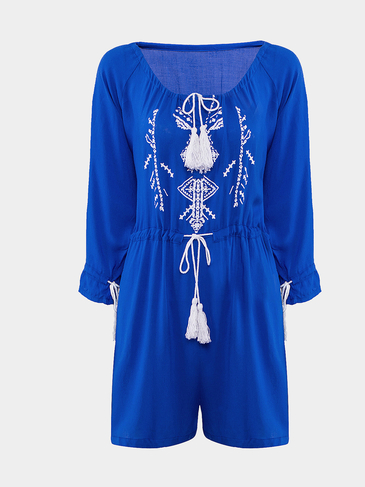 Blue 3/4 Sleeve Print Romper with Drawstring Detail