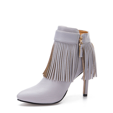Grey Fringed Pointed Heeled Ankle Boots