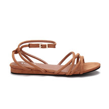 Brown Suede Look Strap Cross Flat Sandals