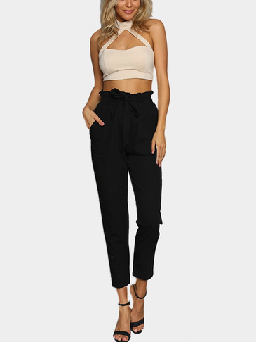 Black High Elastic Belt Waist Casual Pants