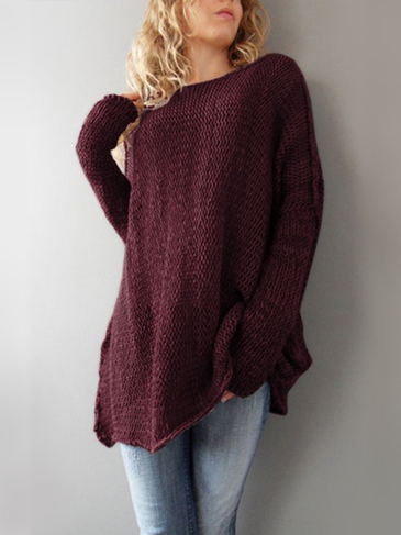 Burgundy Fashion Round Neck Loose Jumper