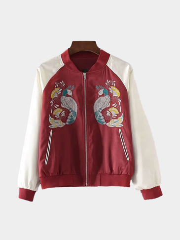 Red And White Splicing Jacket With Animal Embroidery Pattern