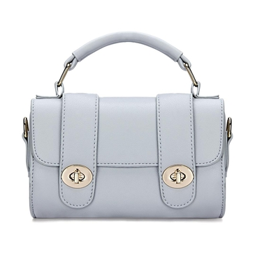 Micro Leather-look Top Handle Bag in Grey