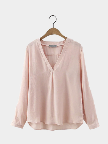 V-neck High Low Hem Blouse in Pink