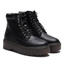 Black Lace-up Design Gum Sole Short Boots