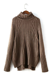 Brown Chunky Roll Neck Sweater