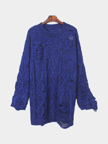 Hollow Long Sleeves Loose Sweater with Random Rips Details in Blue