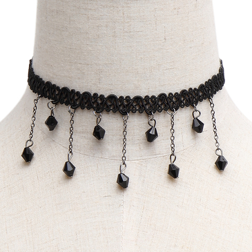 Elegant Crystal Pendant Lace Choker Necklace