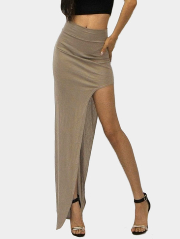 Brown Sexy Médio Cintura High Splited Irmã Hemi maxi Bodycon saia