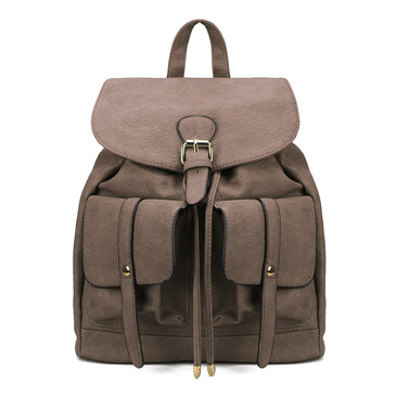 Two Front Pockets Leather-look Backpack