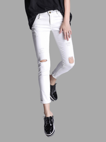 White Ripped Skinny Jeans Com Cut Out Detalhes