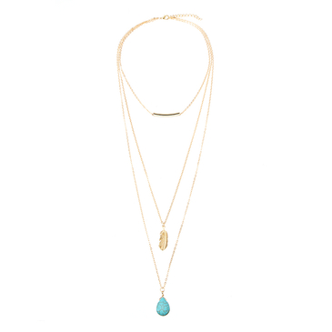 Layered Gold Plated Leaf Pattern Turquoise Necklace