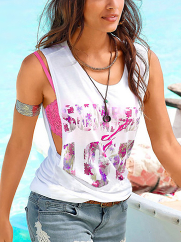 White Fashion Random Floral Print Sleeveless Vest