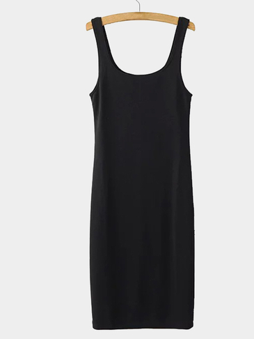 Black Splited Hem Sleeveless Scoop Neck Midi Dress