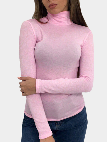Pink Sheer-through High Neck Long Sleeves Bodycon T-shirt