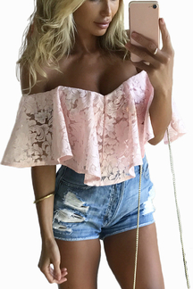 Pink Off-The-Shoulder Frill Overlay Lace Bodysuit
