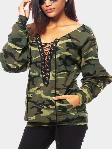 Camouflage Pattern Lace-up Design Sweatshirt