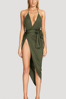 Army-green Wrap Front Side Split Vestido Midi com cinto