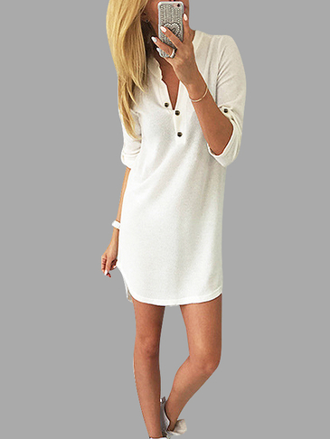 White V-neck Knit Long Sleeves T-shirt Dress