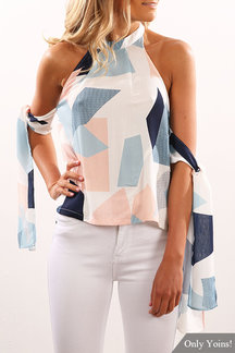Halter Neck Tie at Arm Geometric Print Top