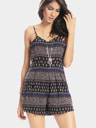 Bohemian Pattern Literary Vintage Style Blackless Sexy Playsuit