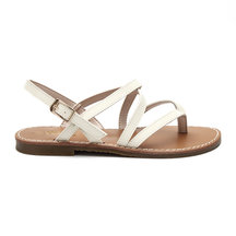 White Leather Look Crossing Strap Over Toe Post Flat Sandals