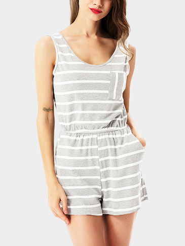 Grey Casual Stripes Sleeveless Playsuit with Stretch Waistband