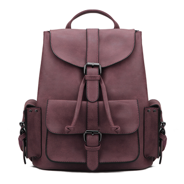 Burgundy Backpack with Drawstring Design and Magnetic Closure