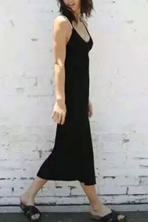 Black Sexy V-neck Velvet Spaghetti Dress With Splited Hem