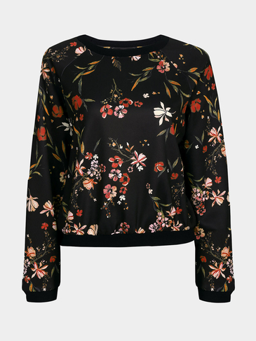 Random Floral Print Long Sleeves Round Neck Sweatshirt