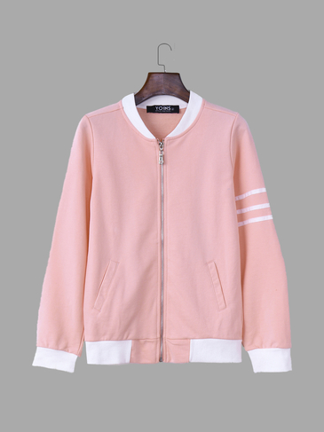 Pink Fashion Zip front Closure Side Pockets Jacket