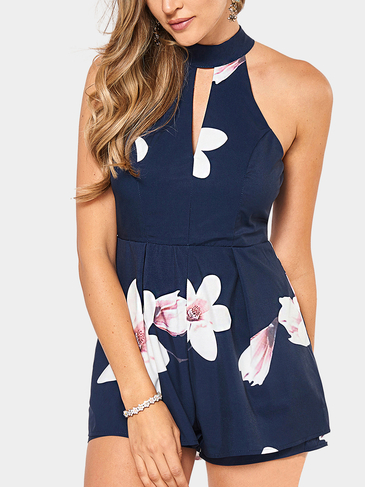 Halfter Neck Cutout Front Design Spielanzug in Navy