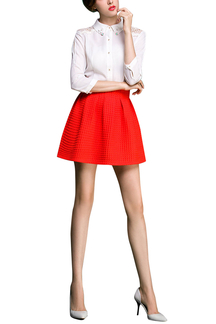 Red High Waist Mini Pleated Skater Skirt