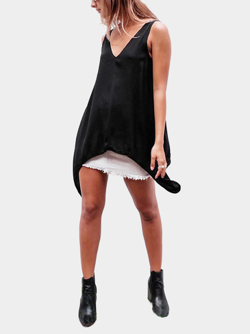 Black V-neck Irregular Hem Self-tie Design Top