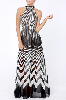 Stripe Sleeveless Halter Maxi Dress