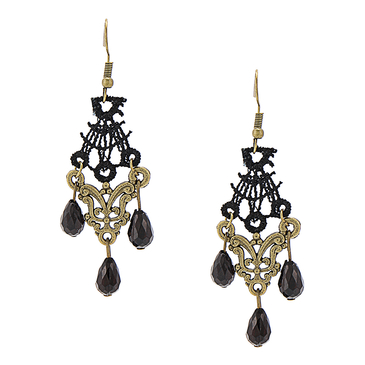 Black Water-drop Lace Drop Earrings