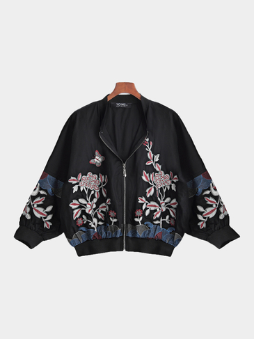 Black Fashion Bomber Jacket With Floral Embroidery