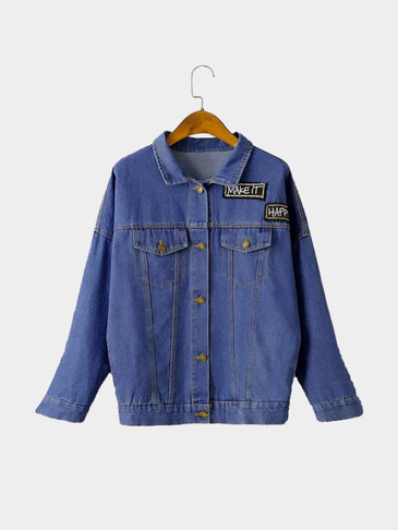 Blue Letter Pattern Long Sleeves Loose Denim Jacket