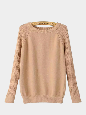 Cable Knit Long Sleeve Sweater in Khaki