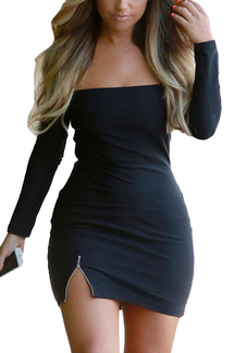 Black Off Shoulder Side Split Dress with Long Sleeves