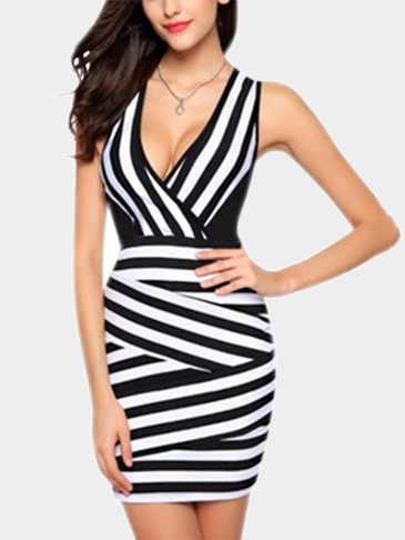 Sleeveless Stripe Pattern Bodycon Dress