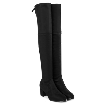 Black Suede Over The Knee Boots with Back Lace-up Design