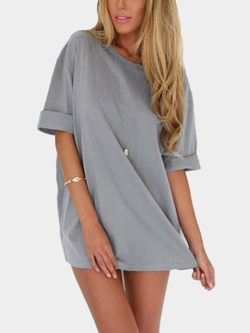 Chiffon A-line Round Neck Mini Tee Dress in Grey