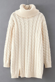 Cable Knit Long Sleeve Longline Sweater in Beige