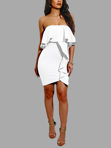 Bodycon Frills Design Strapless Mini Dress in White