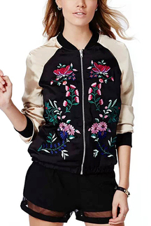 Stand Collar Embroidered Floral Bomber Jacket